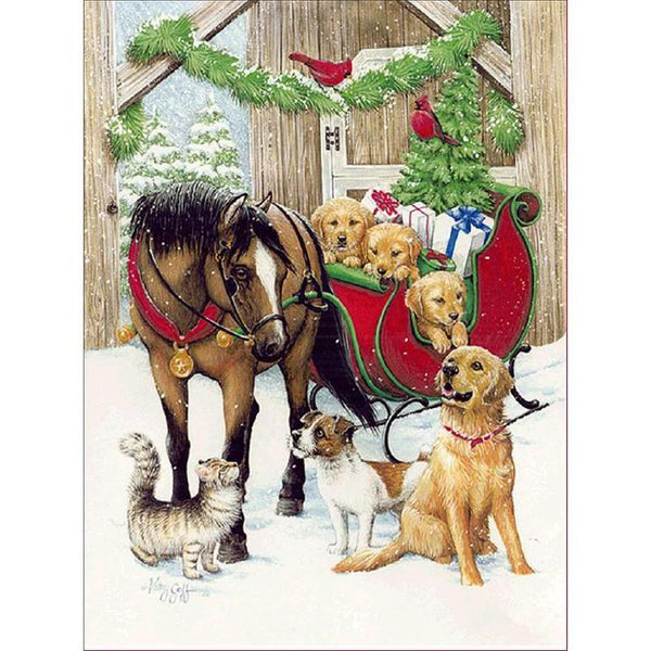 2019 5d DIY Diamond Painting Kits Horse And Dogs QB5491