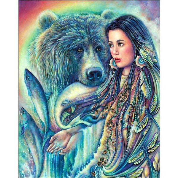 Oil Painting Style Beauty And Animal 5d Diy Cross Stitch Diamond Painting Kits QB5918