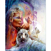 Oil Painting Style Beauty And Animal 5d Diy Cross Stitch Diamond Painting Kits QB5920