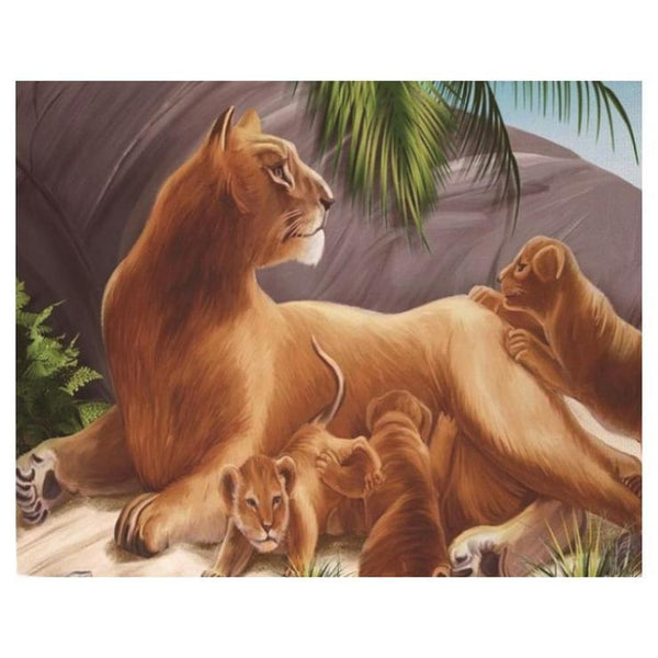 Lovely Lion Family Pattern Diy 5d Full Diamond Painting Kits QB5869