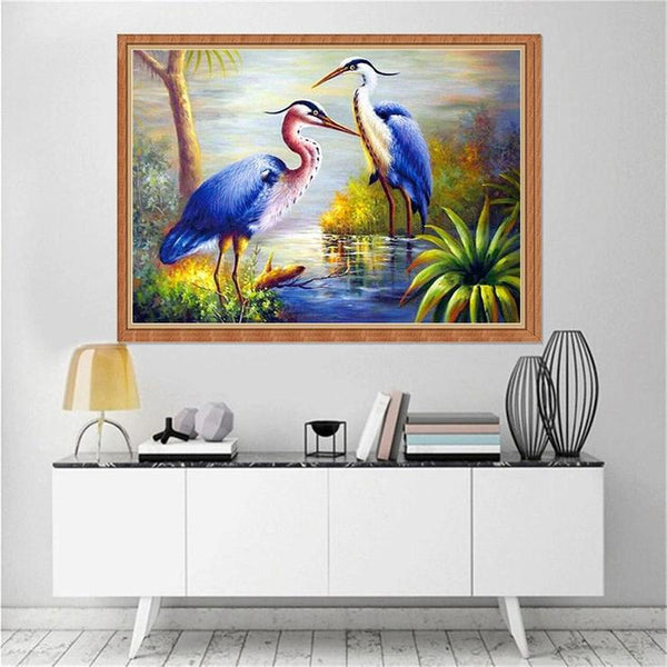 5D Diy Diamond Painting Kits Watercolor Special Red Crowned Crane QB6204