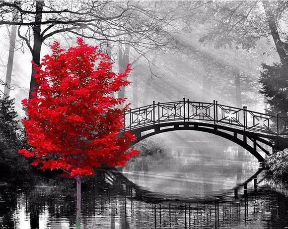 5D DIY Diamond Painting Kits Red Tree And Bridge VM92220
