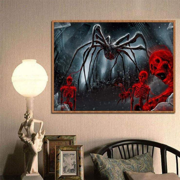 5d Diy Diamond Painting Kits Cartoon Halloween Spider Skull QB8134