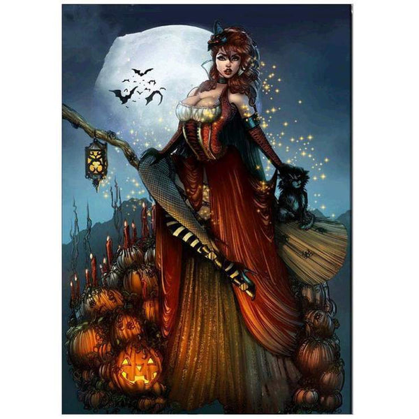 5d Diy Stitch Diamond Painting Kits Cartoon Halloween Witch  QB8133