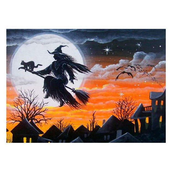 5d Diy Diamond Painting Kits Cartoon Halloween Witch QB8139