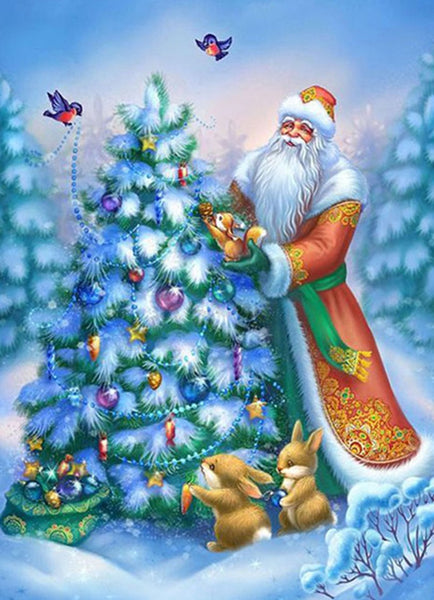 2019 5D DIY Diamond Painting Kits Cartoon Santa Claus And Christmas Tree  NA084