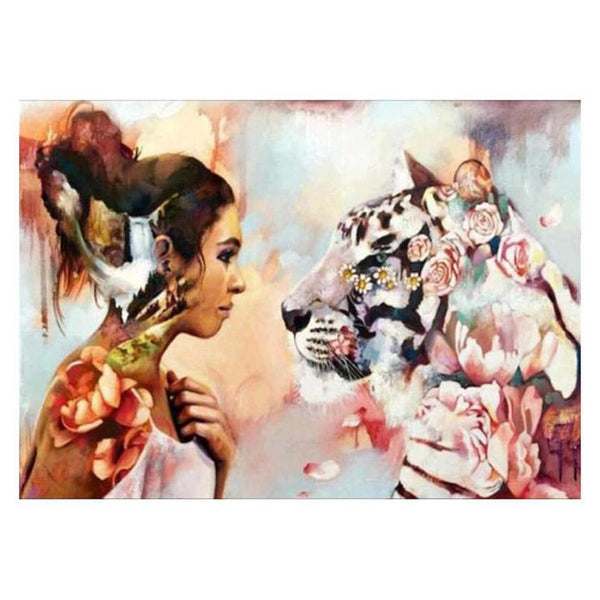 Cheap Oil Painting Styles Beauty And Tiger Diamond Painting Kits QB8035
