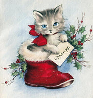 Cheap Winter Christmas Card Cat Inside Shoe 5d Diy Painting Diamond VM1801 (1766957645914)