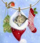 2019 5d Diy Painting Diamond Christmas Card Cute Cat Inside Hat VM1804 (1766958039130)