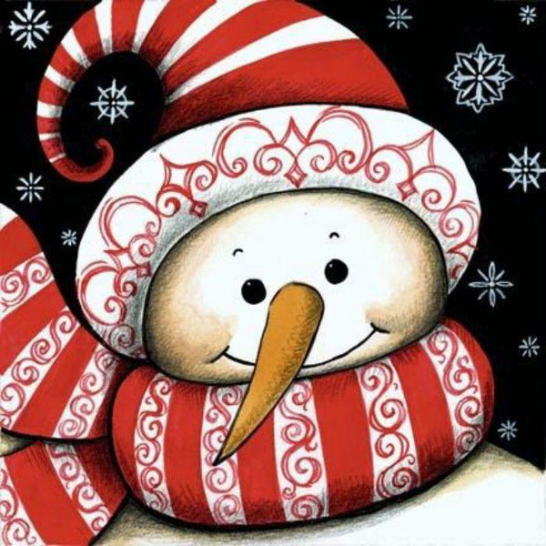 Cheap Cartoon Christmas Card Snowman In Winter 5d Diy Square Diamond Painting VM1820