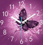 Dream Butterfly Clock 5d Diy Embroidery Cross Stitch Diamond Painting Kits NB0206
