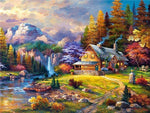 5D Diamond Painting Kits Autumn Oil Painting Styles Beautiful Cottage Af9615
