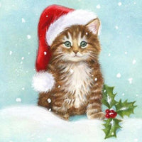 2019 5d Diy Diamond Painting Cat Wearing Christmas Hat VM1828 (1766959186010)