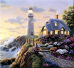 5d Diy Diamond Painting Kits Cartoon Cottage Lighthouse VM8378