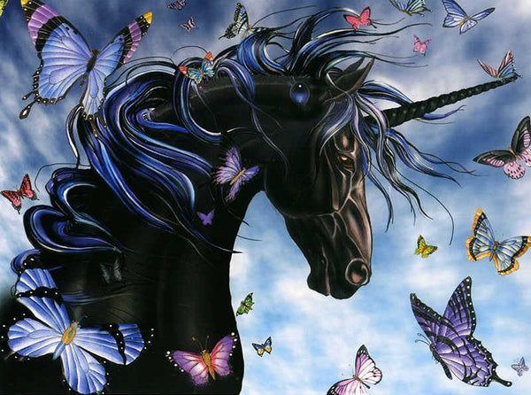 Dream 5D DIY Diamond Painting Black Unicorn Embroidery Cross Stitch Mosaic Kits VM90850