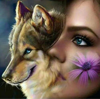 2019 5D DIY Diamond Painting Embroidery Cross Stitch Kits Wolf Girl VM90909
