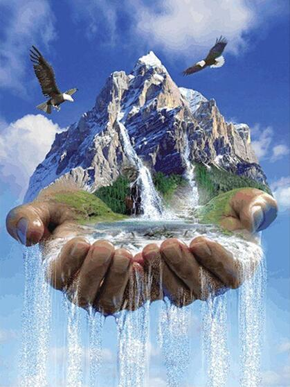 5D Diy Diamond Painting Kits Mountain Waterfall Hands VM90924
