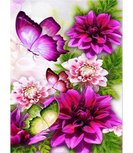 2019 5d Diy Diamond Painting Kits  Butterfly and Flower Wall Decoration VM8119