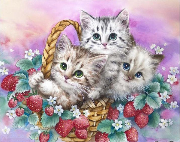2019 5D DIY Diamond Painting Oil Painting Style Cat In Basket VM4061 (1767031668826)