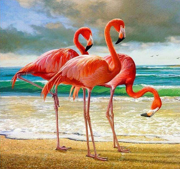5D Diy Cross Stitch Diamond Painting Kits Flamingos NA0294