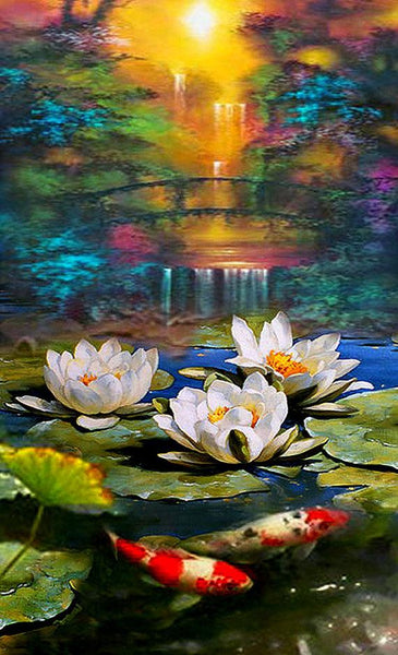 Oil Painting Style Lotus 5D Diy Embroidery Diamond Painting Kits NA0140