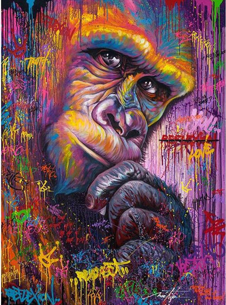 Oil Painting Style Bedazzled Monkey 5d Diy Diamond Painting Kits NA00516