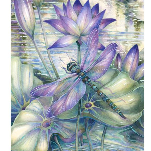 2019 5d DIY Diamond Painting Kits Lotus Dragonfly VM9482