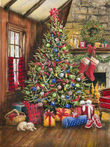 Hot Sale Full Square Drill Christmas Tree 5d Diy Diamond Painting Kits NA0529