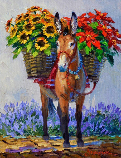 Oil Painting Style Donkey 5D Diy Embroidery Cross Stitch Diamond Painting Kits NA0286