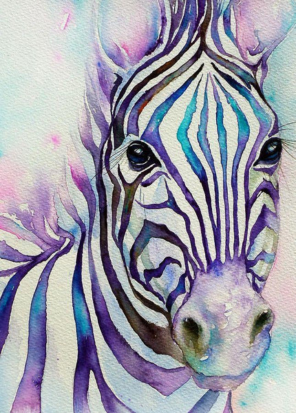 5D Diy Diamond Painting Kits Watercolor Zebra NA0375
