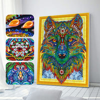 Half Drill Colorful Wolf Diamond Painting Kits HD90010