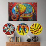 Half Drill Colorful Elephant Diamond Painting Kits HD90035