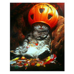 2019 5d Diy Diamond Painting Kits Halloween Pumpkin Cat VM8734