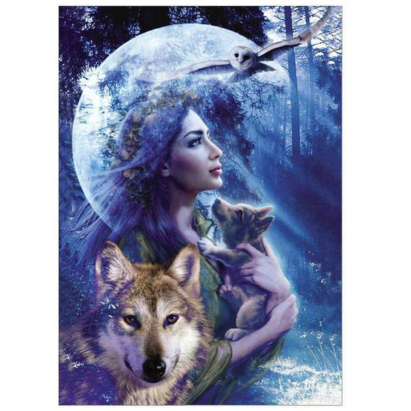 Hot Sale Dream Wall Decor Beauty And Wolf Diy 5d Diamond Painting VM1226 (1766947061850)