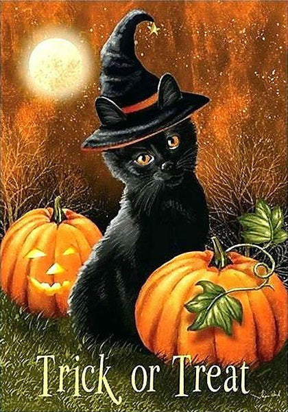 2019 5d Diamond Diy Paint Halloween Magic Hat Cat And Pumpkin VM01302