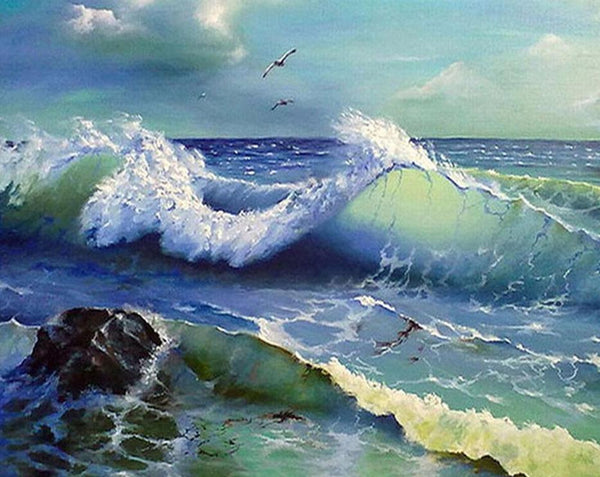 Hot Sale Nature Sea Wave Pattern 5d Diy Cross Stitch Diamond Painting Kits QB7128