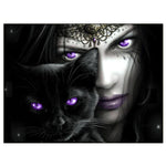 2019  5d Diy Diamond Painting Kits Mysterious Cat And Beauty VM7273