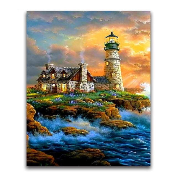 2019 5d Diamond Painting Kits Oil Painting Style Lighthouse VM20210