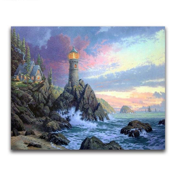 2019 5d Diamond Painting Kits Watercolor Lighthouse  VM20212