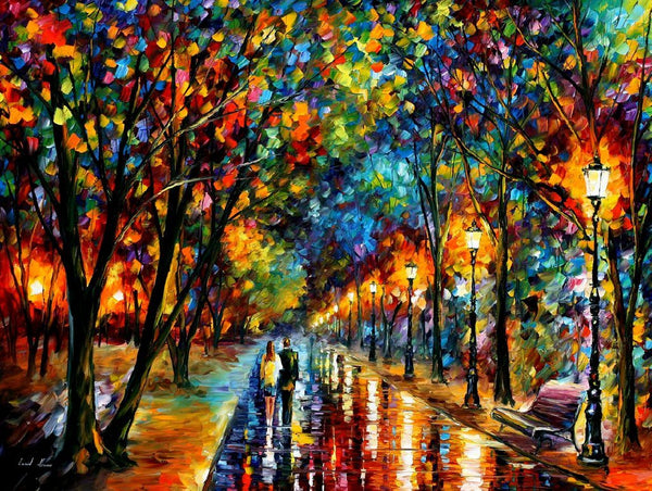Home Decorate Oil Painting Style Street After Rain 5d Diy Diamond Painting Kits VM9947