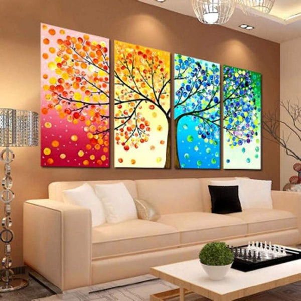 Four Seasons Large Multi Panel Tree 5D DIY Mosaic Diamond Painting Kits QB9019