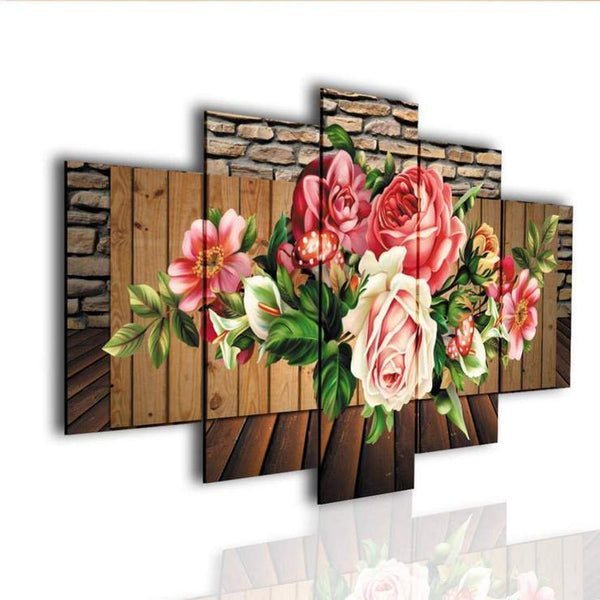 Large Multi Panel Flower Pattern 5D DIY Mosaic Diamond Painting Kits QB9012