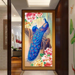 Large Sizes Blue Peacock 5d Diy Diamond Painting Kits AF9078