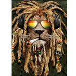 5D DIY Diamond Painting Kits Special Lion Listening Music  NB0007