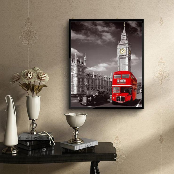 Modern Art Red Bus Diy Diamond Painting Street QB8032
