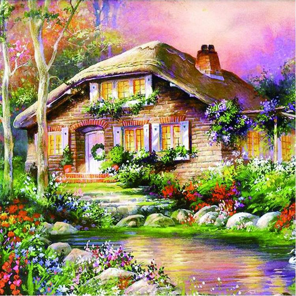 2019 5d Diy Diamond Painting Kits Oil Painting Style Mosaic Cottage  VM98374