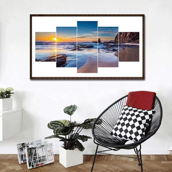 Multi Panel Landscape Beach Embroidery 5D DIY Full Drill Diamond Painting Kits QB8106