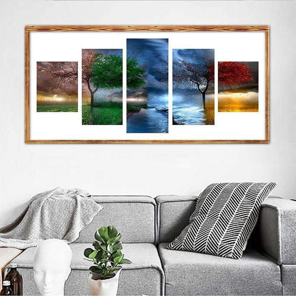 Multi Panel Four Seasons Tree 5D DIY Full Drill Diamond Painting Kits QB8060