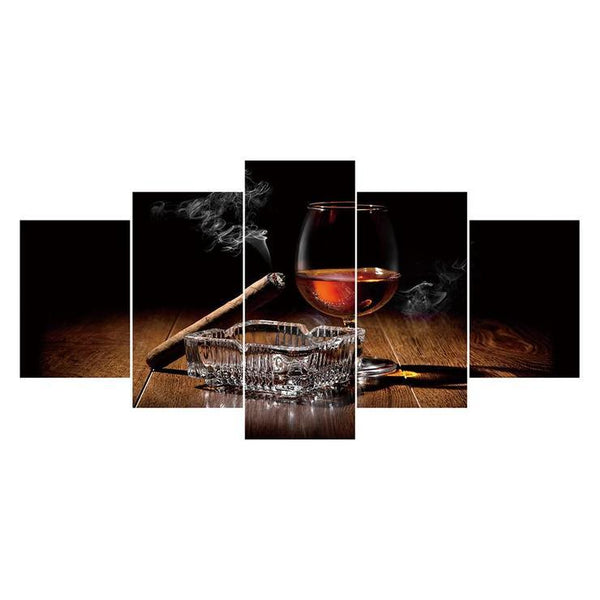Multi Panel Wine Glasses And Cigars 5D DIY Mosaic Diamond Painting Kits QB8055