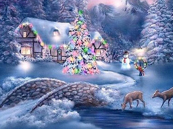 Christmas Tree Village In Winter 5D Diy Diamond Painting Kits  NW91009